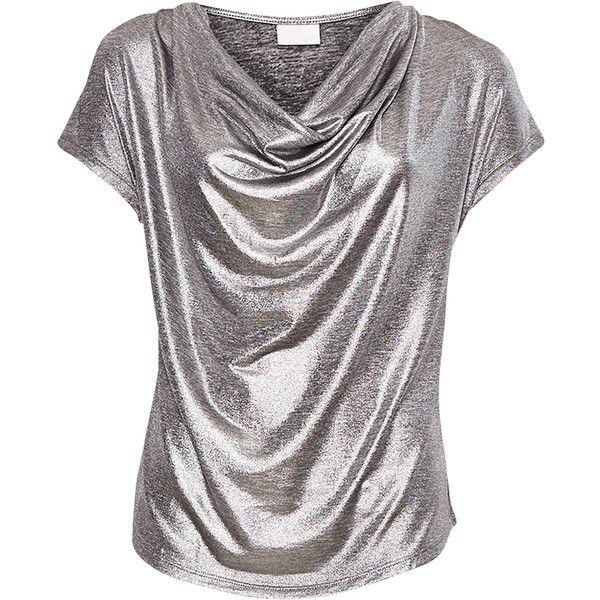 Vila Top Jensina Silver (€27) ❤ liked on Polyvore featuring tops, shirts, t-shirts, blouses, vila, shirts & tops, polish shirts, silver top ve stretch shirt