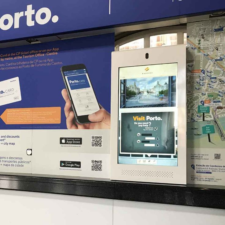 CP - Comboios de Portugal decided to promote the Porto Tourism Official Portal ( Visit Porto.), through a multimedia kiosk of 40 '' developed through one of PARTTEAM & OEMKIOSKS business partners.