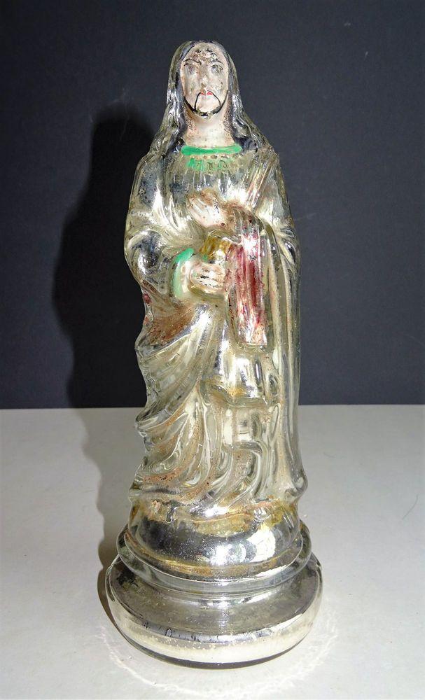 ANTIQUE BAUERNSILBER SILBERGLAS SILVER GLASS Sakral Volkskunst Heiliger Jesus