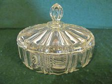 Clear Depression Glass Candy Dish | VINTAGE CLEAR ROUND DEPRESSION GLASS PANELED COVERED CANDY DISH ...