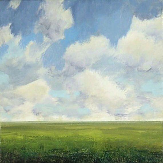 Large Landscape Oil Painting 48x48 CUSTOM Modern Abstract Sky Cloud FIELD ART by J Shears