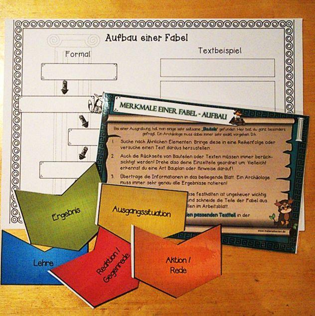 Mit anschaulichen Materialien werden die Schüler über den Aufbau einer Fabel in dieser Deutsch-Stunde informiert. – Materialtanten