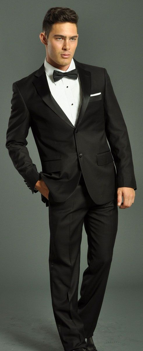 Two Piece Black Tuxedo Suit Fellini 4 A Groom Prom Wedding Father Of The Groom
