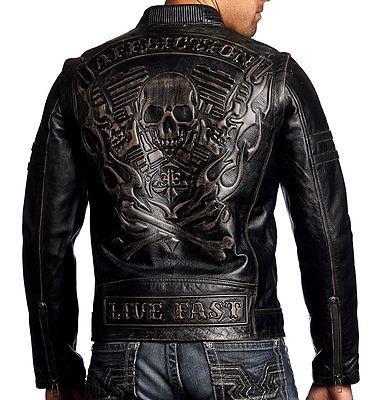 Affliction Black Premium - REBELLIOUS - Men's Leather Biker Jacket MOTO - Black
