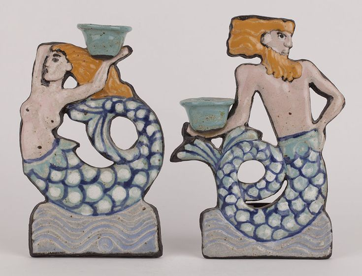 UNUSUAL PAIR ITALIAN MERMAID/MAN CANDLESTICKS IN THE STYLE OF FANTONI c.1960