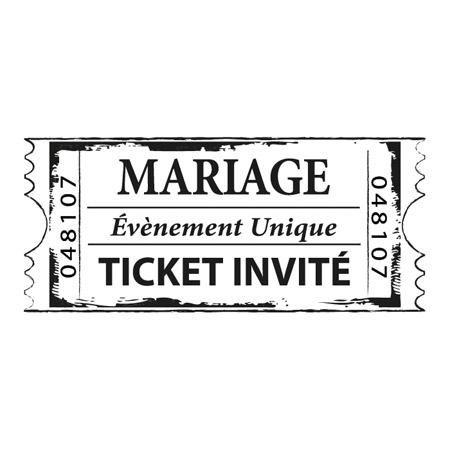 Tampon bois - Ticket mariage - 5,4 x 2,3 cm