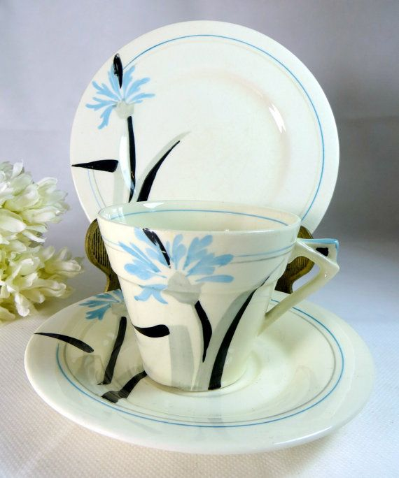 Cool ice blue trio - Art Deco Trio Myott Pottery Cornflower Blue Cup Saucer & Teaplate by keepsies on etsy £24.00