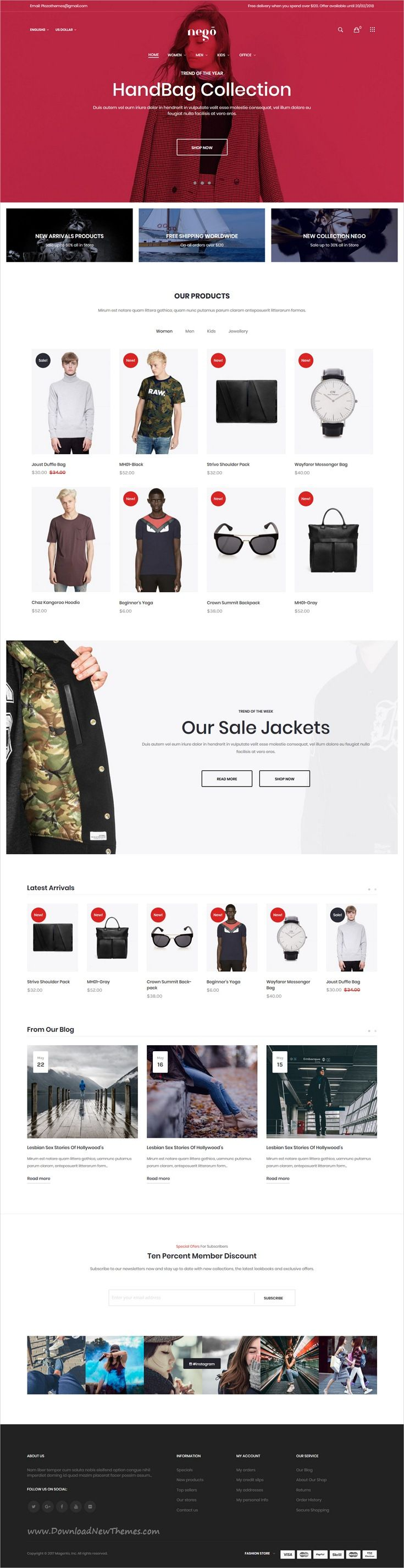 Nego is clean, minimalist and modern design responsive #Magento theme for stunning fashion store #eCommerce website with 6 niche homepage layouts download now..