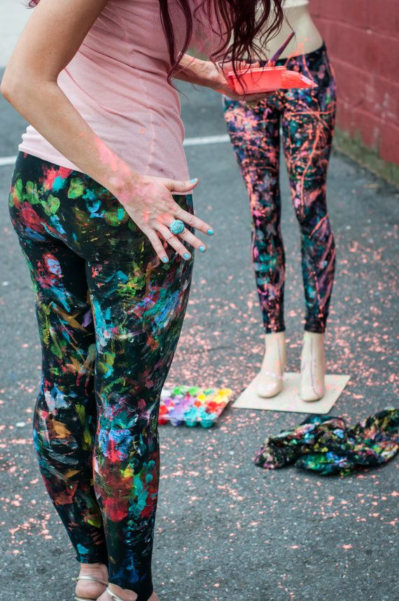 Splatter Paint Leggings Hand Painted And Made To Order By