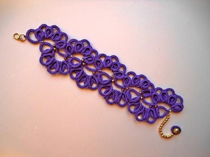 purple tatted bracelet - Braccialetto realizzato a chiacchierino - Tecnica Ankars