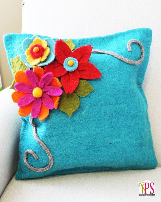 Felt Flower Pillow :: PositivelySplendid.com