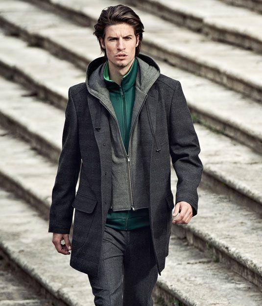 """Cappotto """"easy attitude"""". Interno tecnico e cappuccio in jersey. http://www.leboleuomo.it/"""