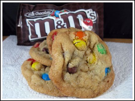 Last week I mentioned I was looking for the perfect M cookie – not just a chocolate chip cookie with M instead of chips, but a thin, chewy cookie with brown edges and lots of wrinkles on top. So far, these are my favorites. To get the