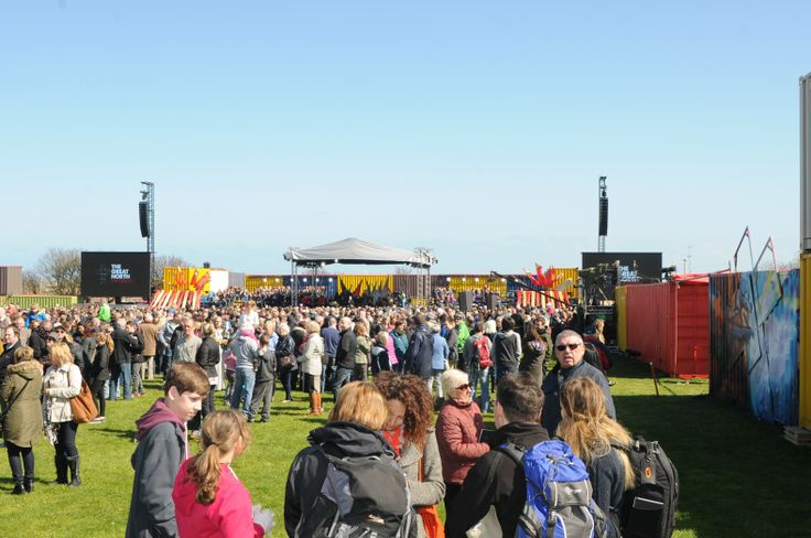 The crowds start to gather for the live broadcast of Great North Passion from Bents Park, South Shields South Tyneside.