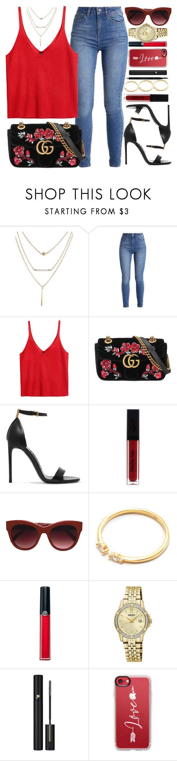 """""""Marseille"""" by monmondefou ❤ liked on Polyvore featuring Gucci, Tom Ford, STELLA McCARTNEY, Armani Beauty, Seiko, Lancôme, Casetify and red"""