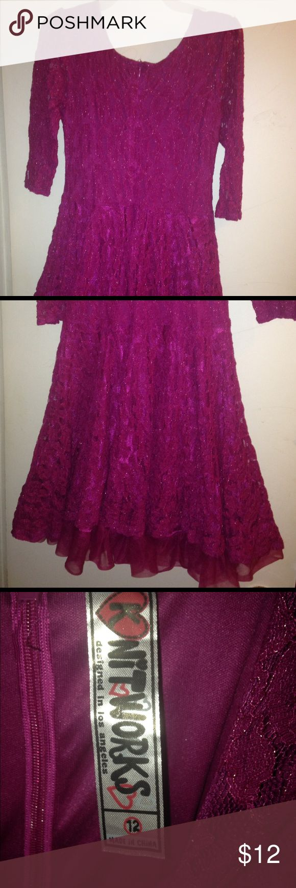 Knitworks Purple lace dress Knitworks purple lace dress. Layered tulle under skirt. Lined dress. Beautiful purple lace with light shimmer. Zippered back. EUC. Smoke free home. Knitworks Dresses