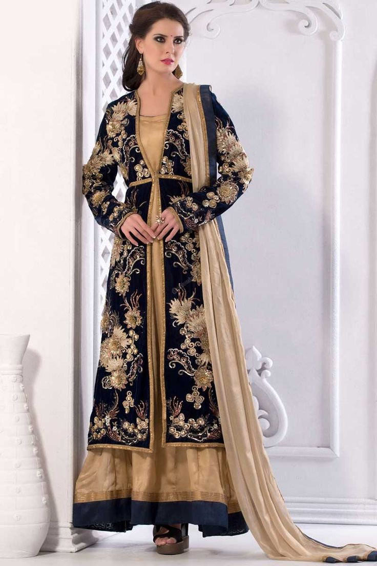 #AndaazFashion Présente Crème Shimmer Anarkali costume et Dupatta   http://www.andaazfashion.fr/salwar-kameez/anarkali-suits/cream-shimmer-anarkali-suit-and-dupatta-dmv13767.html