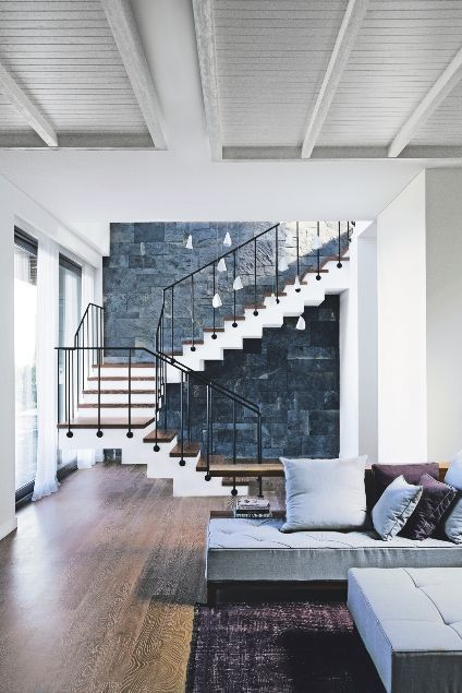 open plan staircase in living room with chairs only interior inspiration modern ideas stairways pinterest hallway stairs wood white modular livingetc