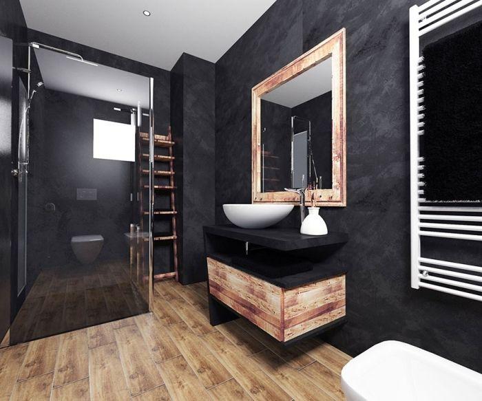 1001 Exemples De La Salle De Bain En Noir Et Bois Contemporaine Meuble Salle De Bain Une Vasque Deco Salle De Bain Idee Salle De Bain