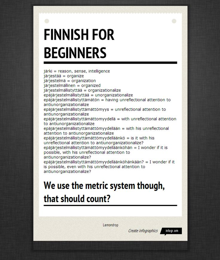 Want to learn some Finnish language? Trust me, it's not really as difficult or as confusing as this sheet makes it seem, you can actually learn Finnish.