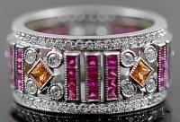 Platino Diamante, zaffiro rosa anello di nozze