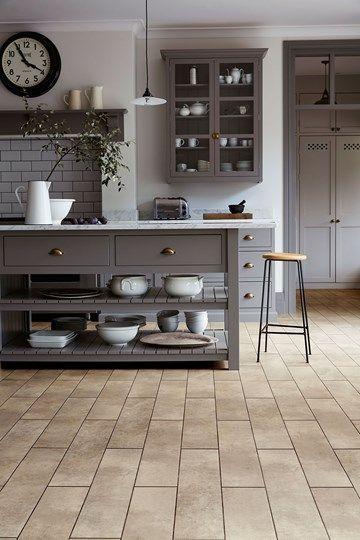 soft stone meets neutral grey cabinetry amtico signature lvt in kura kala in brick block grey kitchenscountry kitchenskitchen flooringtile - Soft Tile Flooring Kitchen