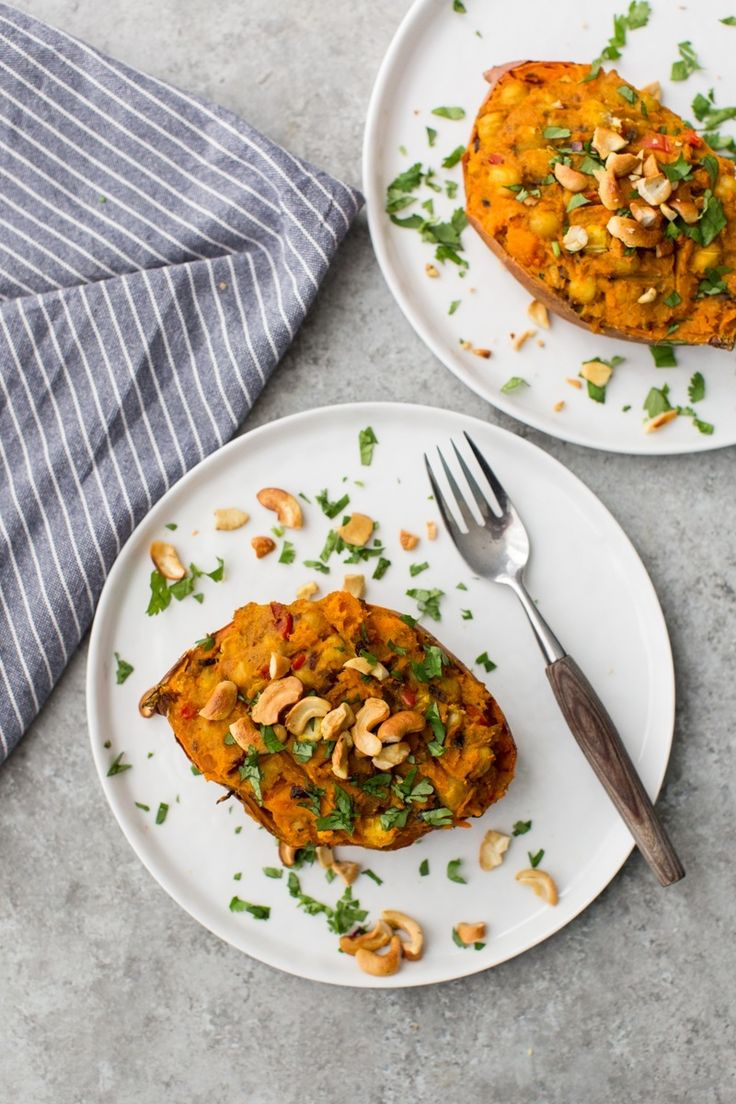 Curried Twice-Baked Sweet Potato with Chickpeas | Naturally Ella