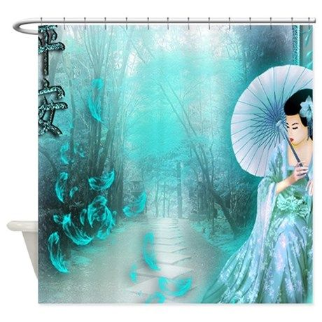 Geisha In Teal Shower Curtain On CafePress