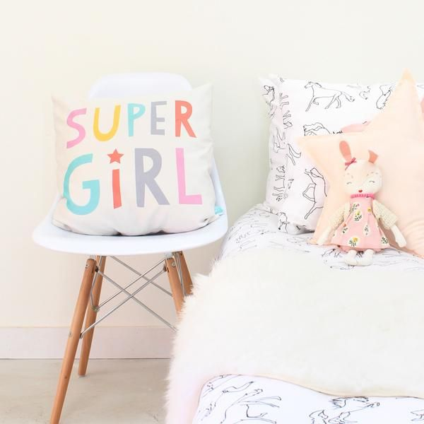Super Girl decorative throw pillow for kids rooms