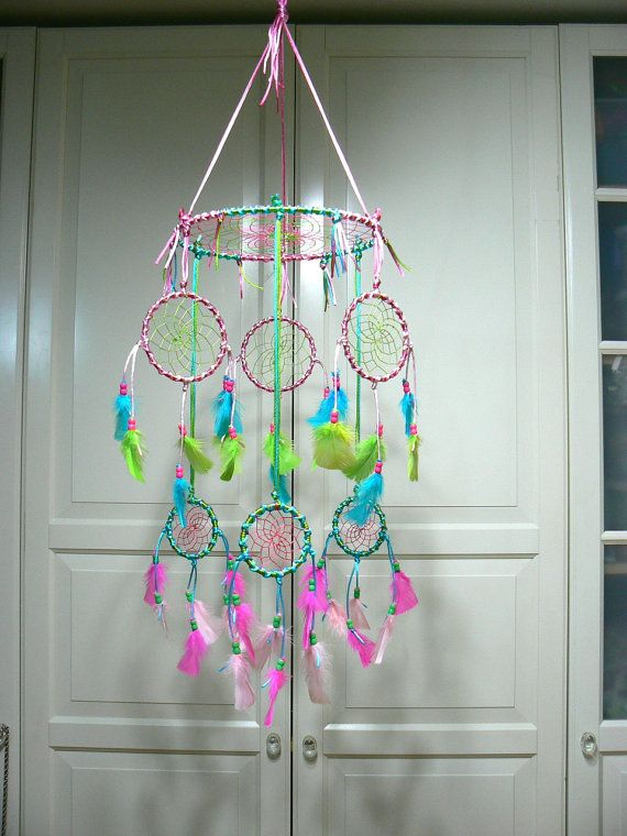 Mobile for baby or childs room Even big kids love these!    Made of Pink, Hot pink, turquoise, and lime green. Largest hoop measures 10 inches
