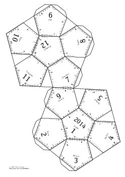 Make a dodecahedral calendar for 2014. Print in PostScript or PDF, cut heavy edges, fold along thin ones to get flaps; glue the flaps. Can use Czech (or other) month names, or your own set of feasts, or if you'd like to generate a calendar for another year, just download the calendar generator and follow the README file there. But beware, you'll need a working installation of TeX with the astrosym font (you can get it at any mirror of CTAN) and for years other than 2014 also the XEphem…