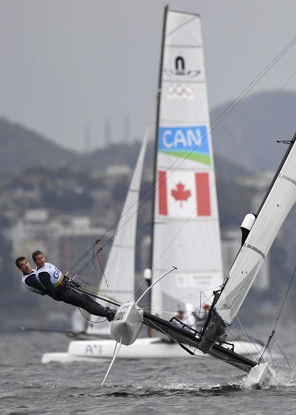 #RIO2016 Britain's Nicola Groves and Ben Saxton compete in the Nacra 17 Mixed sailing class on Marina da Gloria in Rio de Janerio during the Rio 2016 Olympic...