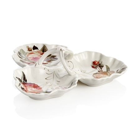 Bernardo Üçlü Çerezlik / Three-Pieces Appetizers #tabledesign #bowl #vintage #rose #gul #home