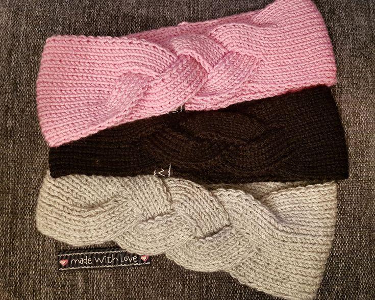Strikket flettepannebånd Knitted headband