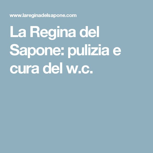 La Regina del Sapone: pulizia e cura del w.c.