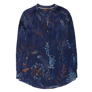 10 Feet Floral Print Blouse: This navy blouse with multi colour floral print is a great transitional piece as it can be worn alone or layered under a jacket or knitwear. Team with jeans and sneakers for a casual daytime look. Pin tuck detail on the shoulders and button fastening.
