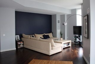 Simple design, cool greys, and look how seamlessly the fire sprinklers blend in.  Pretty AND safe!  Pinned from Houzz.com Tribeca LR - contemporary - living room - new york - by inspirationCOLOR - Jacki Tate