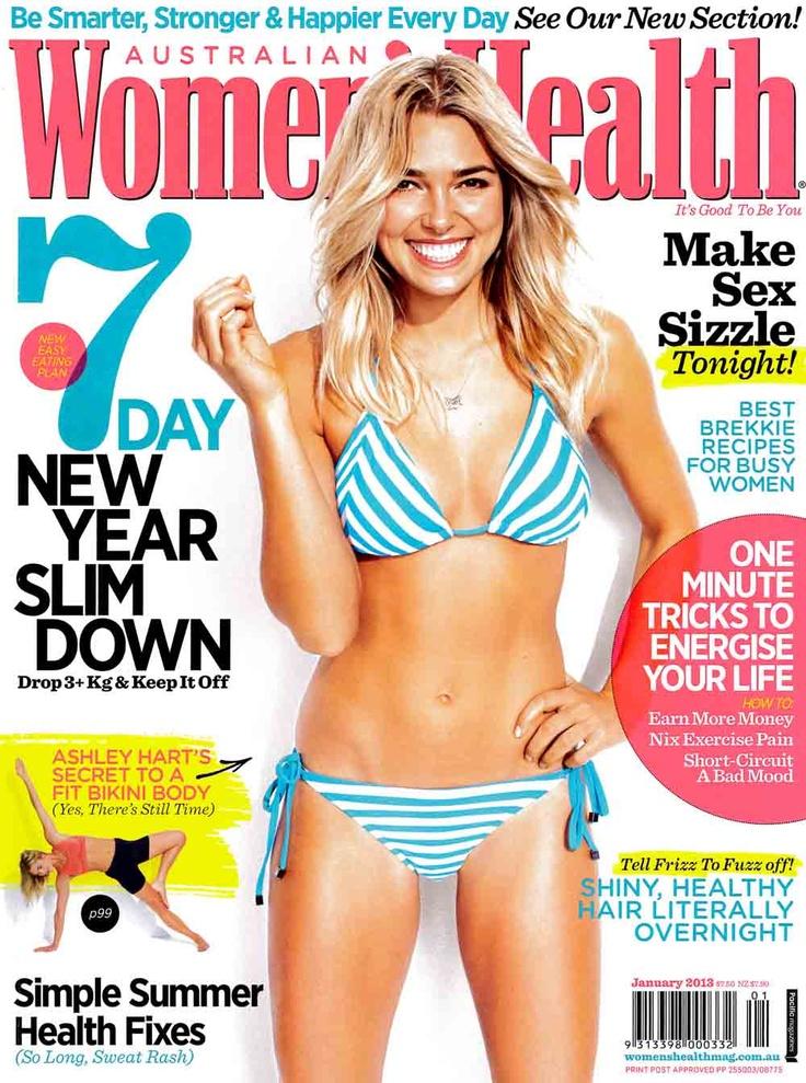 Dec - Print - Women's Health. Ash Hart lights up the cover of Women's Health January 2013 issue. #mambo #goddess #ashhart #womenshealth #summer #swim