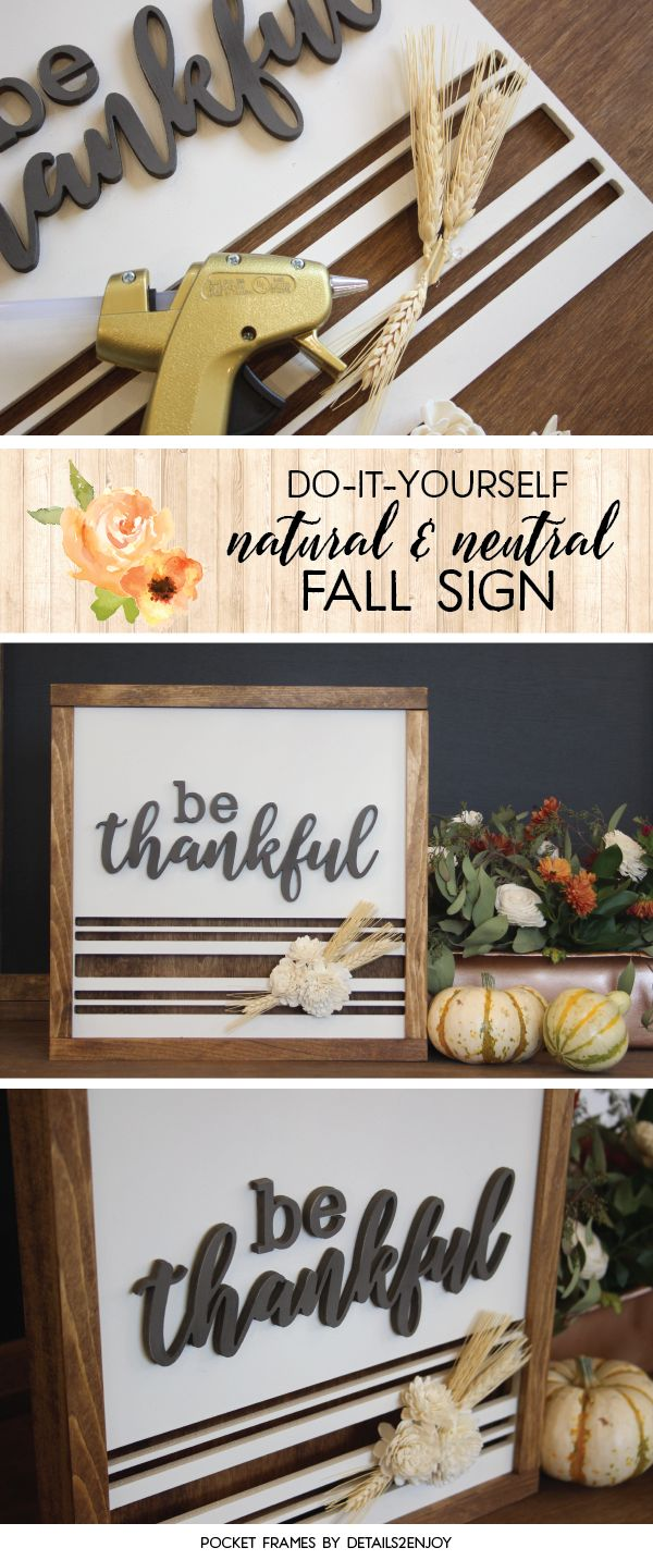 Thanksgiving Inspired Pocket Frames - These DIY signs are interchangeable and so easy to make!