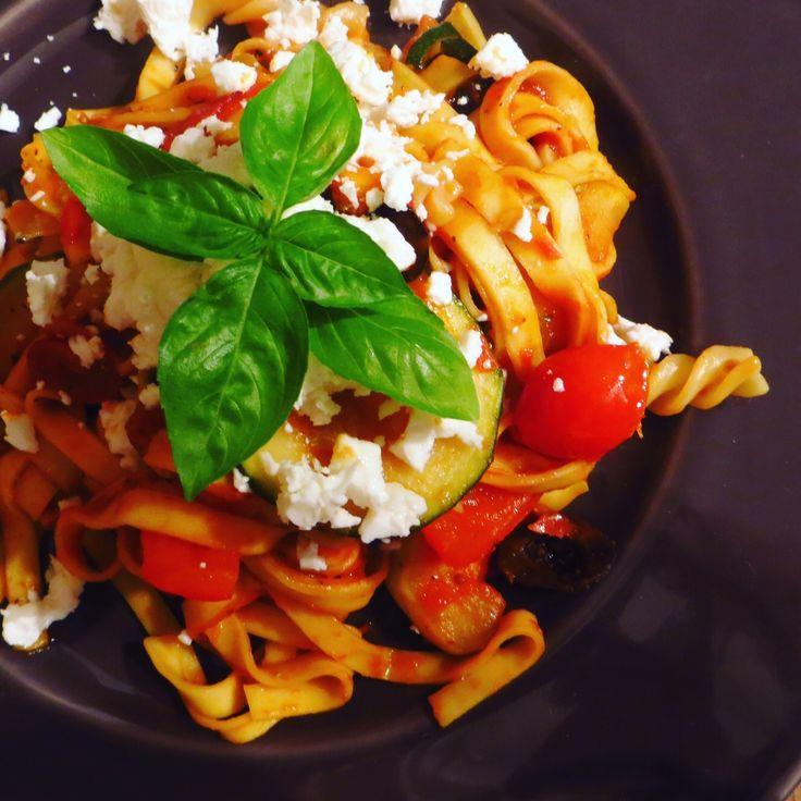 Greek Salad Pasta! Great for summer: https://vegemealia.wordpress.com/2016/09/12/greek-salad-pasta/