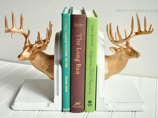 "Inspiration for DIY bookends. Not the deer heads but I can take left over wood and gorilla glue them together in the ""L"" shape."