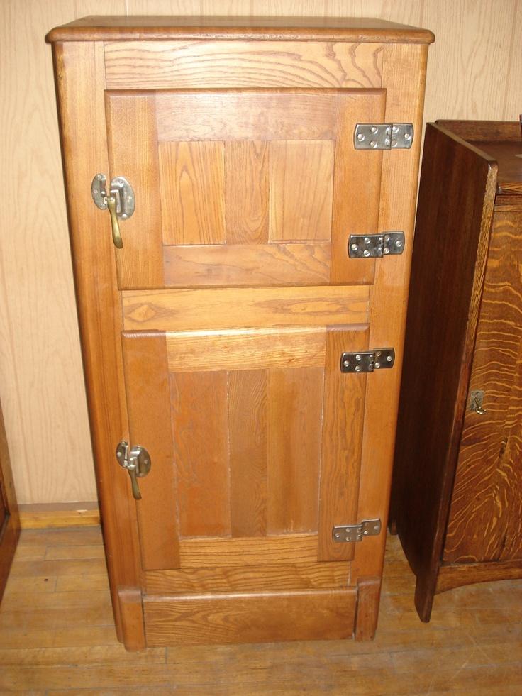 c1915 Oak 2 Door Icebox REFRIGERATORS & ICE BOXES in