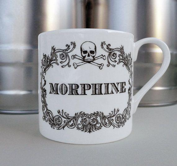 Apothecary Morphine Mug. New coffee mug, tea cup, coffee cup with skull illustration. Sherlock home decor #gifts