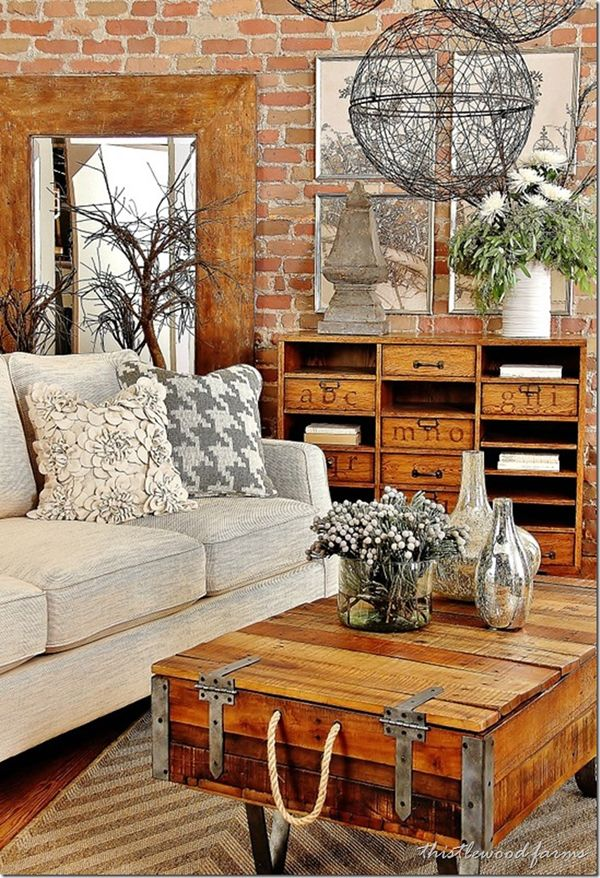 10 ideas about industrial living rooms on pinterest for Industrial farmhouse design