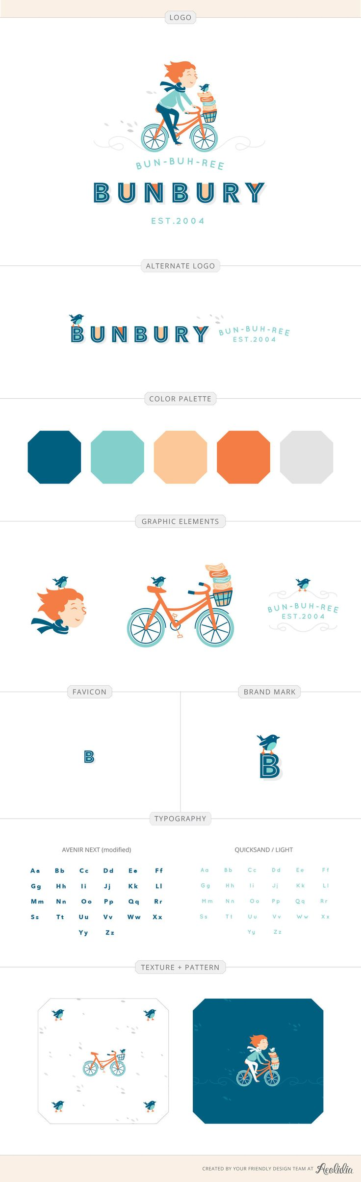 Bunbury design by Aeolidia. Fabric shop illustrated logo of a girl on a bicycle.