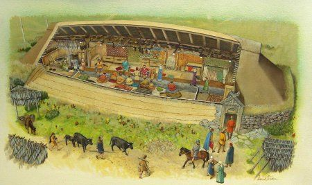 Archaeology Hebrides : Life in a Viking Longhouse. Artists impression of a Viking longhouse, by David Simon