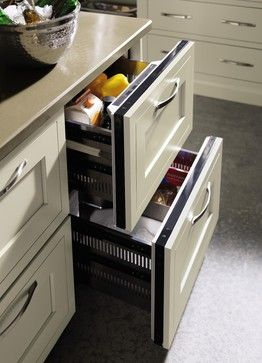 Refrigeration drawers make entertainment simple by giving guests better access to beverages and cold foods.