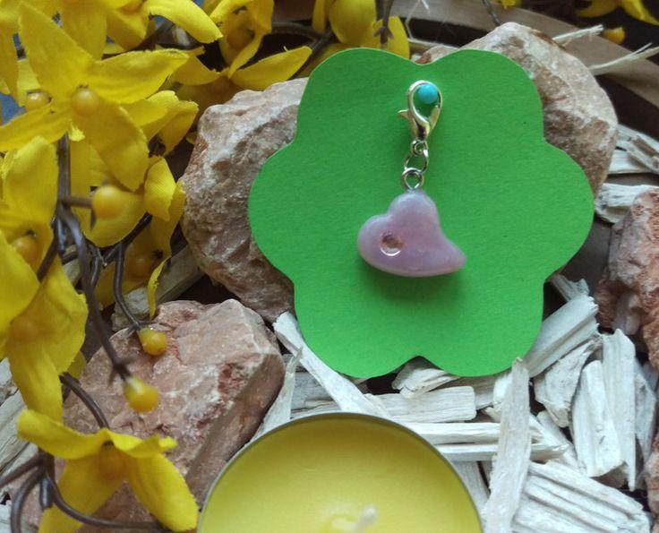 Charms - Rosenquarz Herz mit rosa Bling * Charm - ein Designerstück von Penthas-Dream bei DaWanda