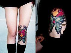 Tatuaje de mariposa en la rodilla | Tatuajesxd