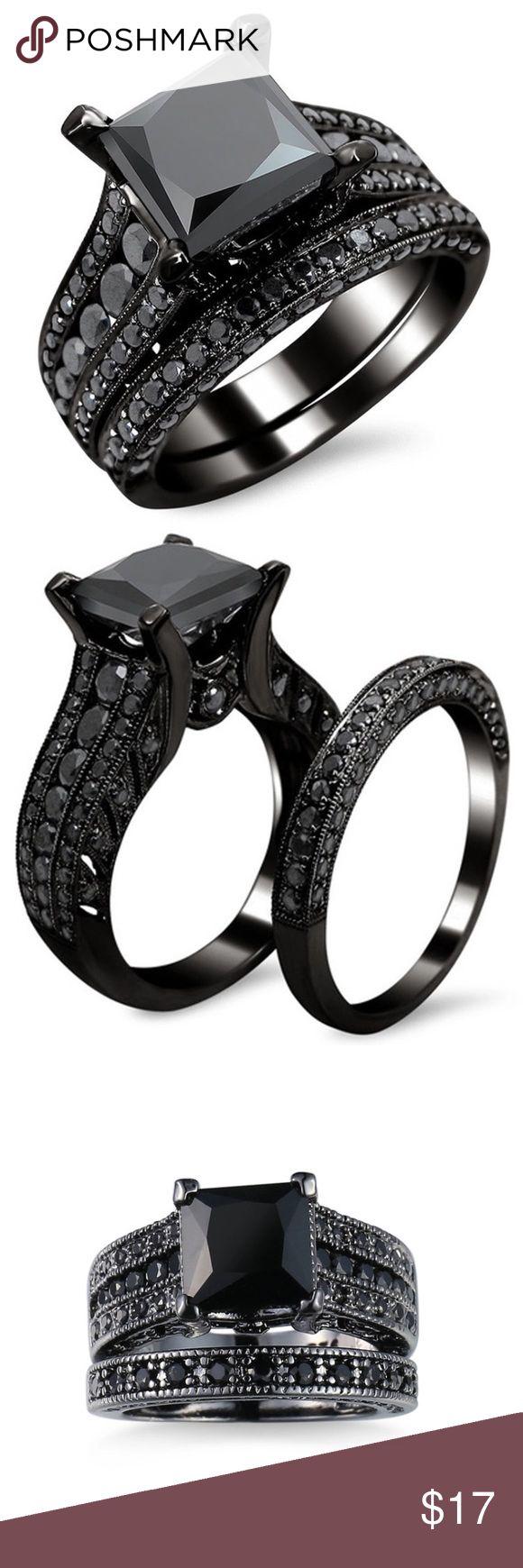 onyx engagement ring onyx wedding band Black Onyx Princess Engagement Wedding Ring Set Beautiful sleek Ring set Larger black princess cut